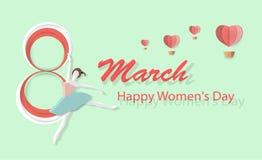 De Dag van gelukkige Vrouwen, 8 Maart met mooie dansende vrouwen, mooie horizontale kaartpatronen voor Webbanners of vectorkaarte vector illustratie