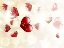 De dag van glanzend harten bokeh licht Valentine. EPS 10 Stock Afbeeldingen