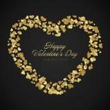 De dag van gouden glanzend Valentine van hartenconfettien vector illustratie
