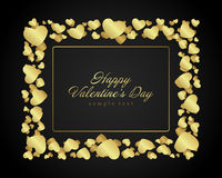 De dag van gouden glanzend Valentine van hartenconfettien royalty-vrije illustratie