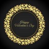 De dag van gouden glanzend Valentine van hartenconfettien of royalty-vrije illustratie