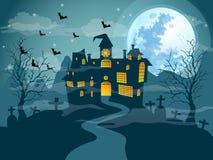 De dag van Halloween van de maannacht Stock Afbeelding