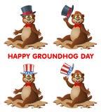 De dag van Hapygroundhog De grappige groet van de beeldverhaalmarmot u terwijl taki Stock Afbeelding