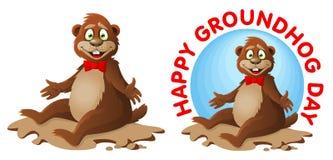 De dag van Hapygroundhog Het grappige beeldverhaal groundhog wenst u geluk Royalty-vrije Stock Afbeeldingen