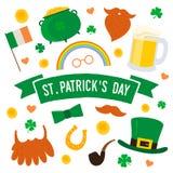 De dag van heilige Patrick ` s Vastgestelde traditionele elementen: hoed, pot van goud, rookpijp, vlag van Ierland, hoef, klaver, vector illustratie