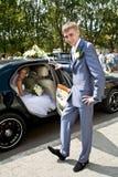 De dag van het huwelijk. Een enkel minuut vóór ceremonie. Stock Foto