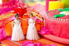 De dag van het huwelijk voor lesbisch paar Royalty-vrije Stock Fotografie