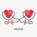 De dag van het wereldhart Stethoscoop van Hart Vector op transparante achtergrond wordt geïsoleerd die Het ontwerp van de medisch stock illustratie