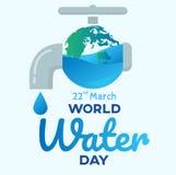 de dag van het wereldwater met tapkraanachtergrond, benner, de groetkaart of de affiche voor campagne besparen water vector illustratie