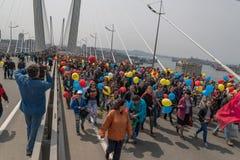 De Dag van internationale Arbeiders in Vladivostok Stock Fotografie