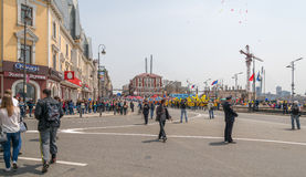 De Dag van internationale Arbeiders in Vladivostok Stock Afbeeldingen