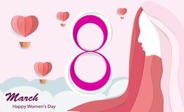 De Dag van internationale Vrouwen, 8 Maart met mooie roze langharige vrouwen met een hart-vormige ballon in het document van de h royalty-vrije illustratie