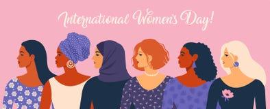 De Dag van internationale Vrouwen Vectorillustratie met vrouwen verschillende nationaliteiten en culturen vector illustratie