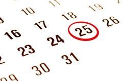 De dag van Kerstmis op kalender Royalty-vrije Stock Afbeelding
