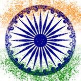 De Dag van de onafhankelijkheid van India 15 August The-de kleuren van de vlag zijn groen, wit, saffraan Blauw wiel met 24 spokes Stock Afbeeldingen