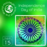 De Dag van de onafhankelijkheid van India 15 August The-de kleuren van de vlag zijn groen, wit, saffraan Blauw wiel met 24 spokes Stock Foto's