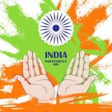 De Dag van de onafhankelijkheid van India 15 augustus Cirkel Ashoka Indische tricolor ndian tricolor vector illustratie