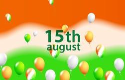 De Dag van de onafhankelijkheid van India Drie-gekleurde ballen op een gekleurde achtergrond Malplaatje voor de verkoop van de ba Stock Foto