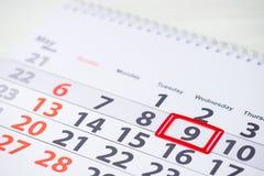De dag van de overwinning 9 Mei-teken op de kalender royalty-vrije stock afbeelding