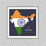 De Dag van de republiek van India 26 Januari Nationale vlag van India Vector illustratie royalty-vrije illustratie