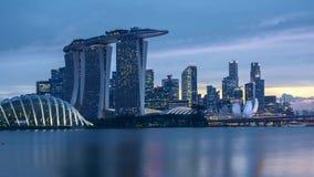 De dag van de tijdtijdspanne aan nachtzonsondergang in Singapore stock footage