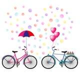 De dag van de valentijnskaart `s Hart van confettien, twee fietsen met een paraplu, ballons en bloemen Vector illustratie stock illustratie