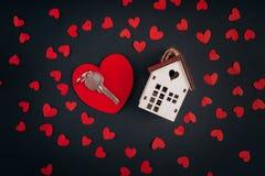 De dag van de valentijnskaart `s Huissymbool Stock Foto