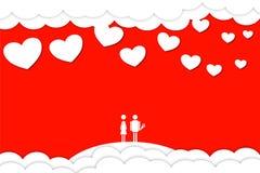De dag van de valentijnskaart `s Twee minnaars weinig mens Royalty-vrije Stock Foto