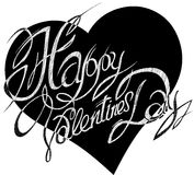 De Dag van Valentine, die op een achtergrond van abstracte harten van letters voorzien Stock Foto