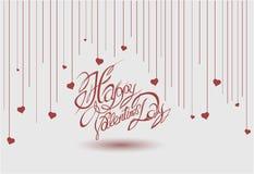 De Dag van Valentine, die op een achtergrond van abstracte harten van letters voorzien Royalty-vrije Stock Afbeelding