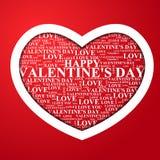 De Dag van Valentine, hart met een binnen gelukwens Royalty-vrije Stock Afbeeldingen