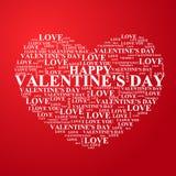 De Dag van Valentine, hart met een binnen gelukwens Stock Fotografie