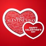 De Dag van Valentine, hart met een binnen gelukwens Stock Foto's