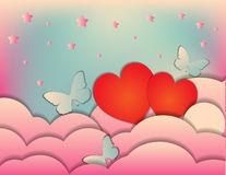De dag van Valentine, huwelijk. Uitnodiging of het malplaatje van het afficheontwerp. Stock Fotografie