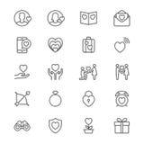 De dag van Valentine verdunt pictogrammen Stock Foto