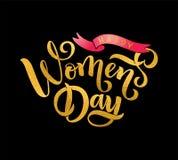 De Dag van vector van letters voorziende de tekst Gelukkige Vrouwen van groetcallgraphy, lint voor kaart, kenteken, markering, ui vector illustratie