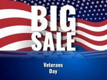 De dag van veteranen Abstracte Amerikaanse achtergrond met golvende gestreepte vlag, sterrig patroon en bezinning Royalty-vrije Stock Foto's