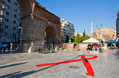 De Dag van wereldaids op de straten van Thessaloniki, Griekenland Stock Fotografie