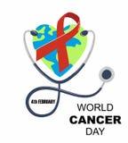 De dag van wereldkanker Stethoscoop met hart in de vorm van aarde vectorillustratie vector illustratie