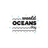 De dag van wereldoceanen Vector illustratie Stock Foto