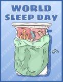 De Dag van de wereldslaap Internationale vakantieprentbriefkaar Ruimte voor tekst Meisjesslaap vreedzaam in haar bed vector illustratie