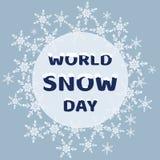 De dag van de wereldsneeuw Inschrijving met het effect van snow-capped lette Stock Foto