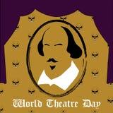 De dag vector minimaal concept van het wereldtheater Stock Afbeelding
