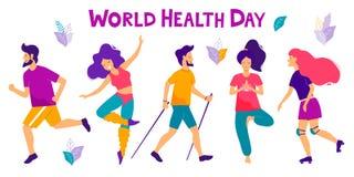 De dag vectorillustratie van de wereldgezondheid Gezond levensstijlconcept Verschillende fysische activiteiten royalty-vrije illustratie