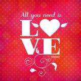 De dag vectorkaart van de gelukkige valentijnskaart Royalty-vrije Illustratie