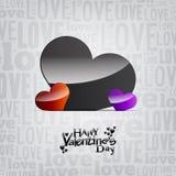De dag zilveren kaart/achtergrond van de valentijnskaart Stock Foto