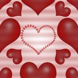 De dagachtergrond van de rode Valentijnskaart met harten Stock Afbeeldingen