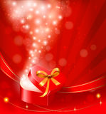 De dagachtergrond van de valentijnskaart `s met open giftdoos. Stock Afbeelding