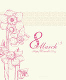 De Dagachtergrond van gelukkige Vrouwen met de lentebloemen 8 Maart Stock Foto's