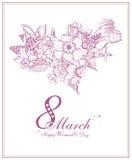 De Dagachtergrond van gelukkige Vrouwen met de lentebloemen 8 Maart Stock Foto